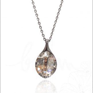 Collier goutte acier argenté avec pierre Crystal White Patina Swarovski® - Bohm