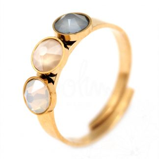 Bague Bohm - Acier doré réglable avec pierres White Opal, Crystal Ivory Cream, Crystal Dark Grey Swarovski®