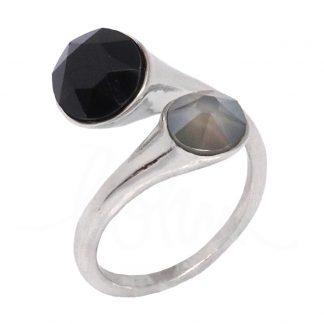 Bague argentée réglable Bohm avec cristaux noir et gris Swarovski®