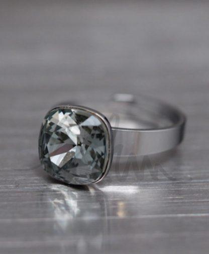 Bague réglable cristal noir diamant Swarovski® - Acier argenté