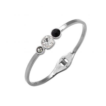 Bracelet jonc -Bohm - Acier - Cristal Noir Swarovski® - Fermoir ressort -