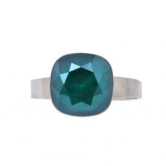 Bague réglable cristal vert Swarovski® - Acier argenté
