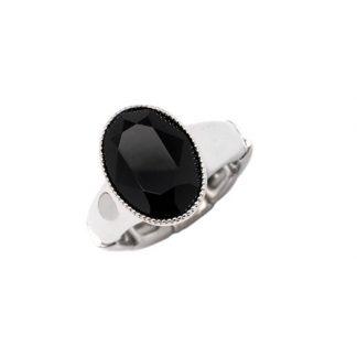 Bague élastique Cristal Noir Swarovski® - Bohm