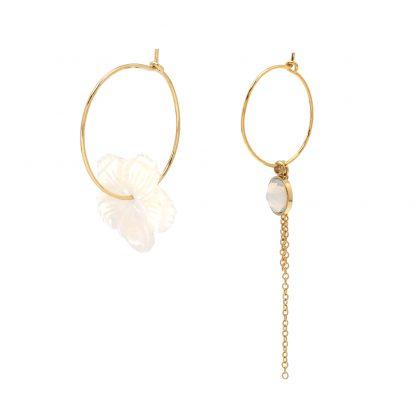 Créoles Fleur nacre Bohm et pierre White Opal (blanc) Swarovski® - Acier doré