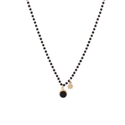 Collier rocaille noire Bohm orné d'une pierre Cristal noir Swarovski®