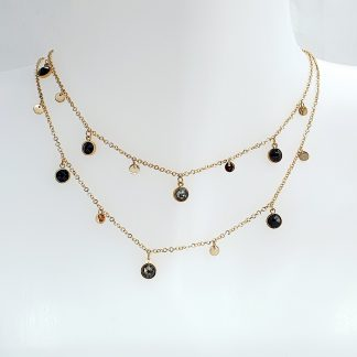 Collier double rang Bohm -Pampilles avec pierres Cristal noir Swarovski® - Acier doré
