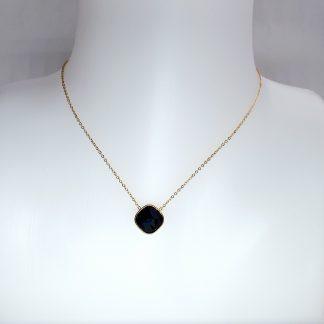 Collier Bohm cristal noir Swarovski - Acier doré