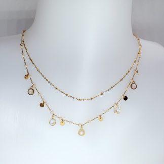 Collier Bohm double rangs - Acier Doré - Perles et pampilles avec pierres Cristal beige rosé Swarovski®