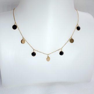 Collier Bohm acier doré avec pampilles et pierres Cristal noir Swarovski®