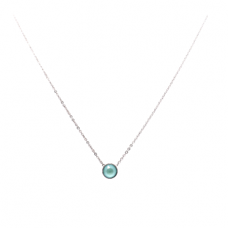 Collier solitaire Bohm Vert   Acier argenté cristal Swarovski vert d'eau