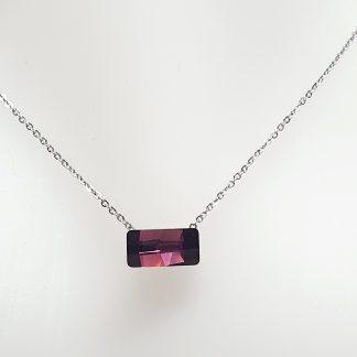 Collier solitaire Bohm Violet Améthyste | Acier argenté cristal Swarovski