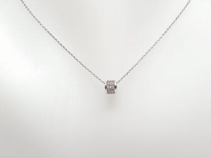 Chaîne pendentif Cylindre Zirconiums - Placage Or blanc 2 microns - Bijorelle