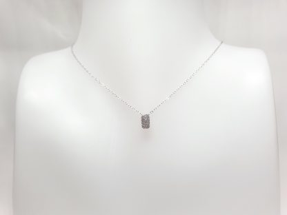 Chaîne pendentif Rectangle Zirconiums - Placage Or blanc 2 microns - Bijorelle
