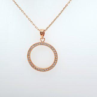 Chaîne pendentif Cercle Zirconiums - Placage Or rose 2 microns - Bijorelle