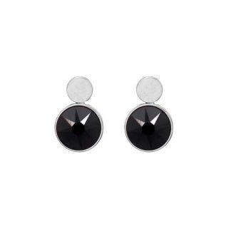 Boucles d'oreilles puces noir Swarovski® - Bohm - Acier argenté