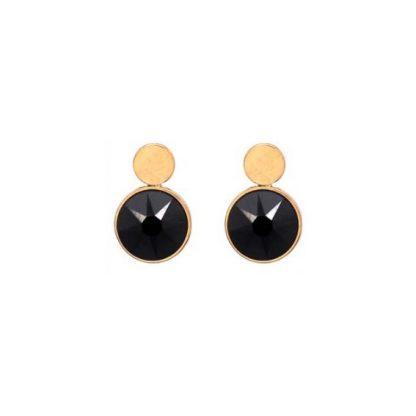 Boucles d'oreilles puces noires Swarovski® - Bohm - Acier doré