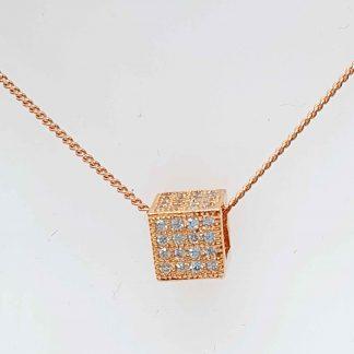 Chaîne pendentif Cubique Zirconiums - Placage Or rose 2 microns - Bijorelle