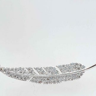 Chaîne pendentif Plume Zirconiums - Placage Or blanc 2 microns - Bijorelle
