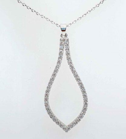 Chaîne pendentif Goutte Zirconiums - Placage Or blanc 2 microns - Bijorelle