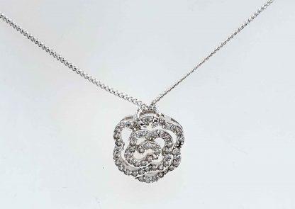 Chaîne pendentif Camélia Zirconiums - Placage Or blanc 2 microns - Bijorelle