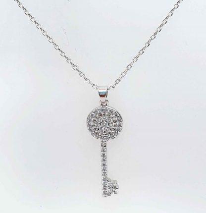 Chaîne pendentif Clé Zirconiums - Placage Or blanc 2 microns - Bijorelle